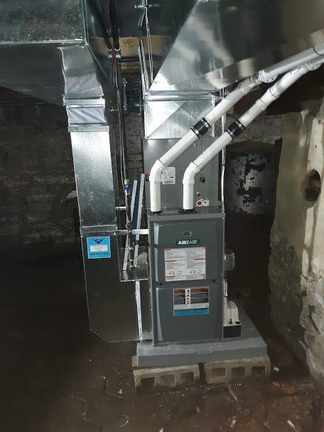 12-18-2019 - Completed duct-work and new installation of Armstrong Airease Furnace. Sheffield, PA 16347
