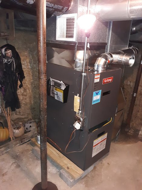 November 2019-- Completed Installation of (Pulled out preexisting equipment and removed from job site). Installed new AirEase Furnace 12-12-2019 Sheffield, PA 16347
