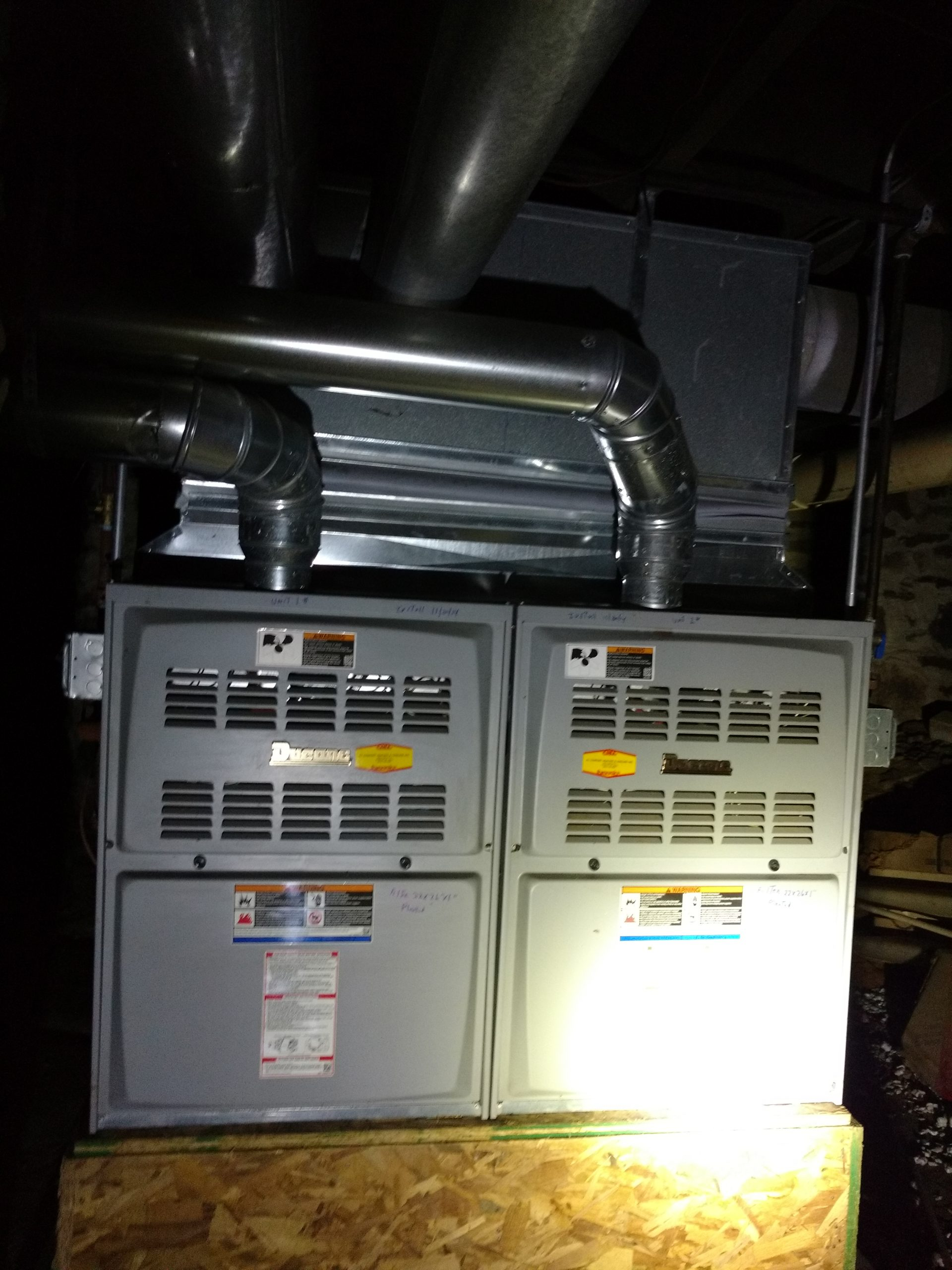 Ducane Twinned natural gas furnace Installation