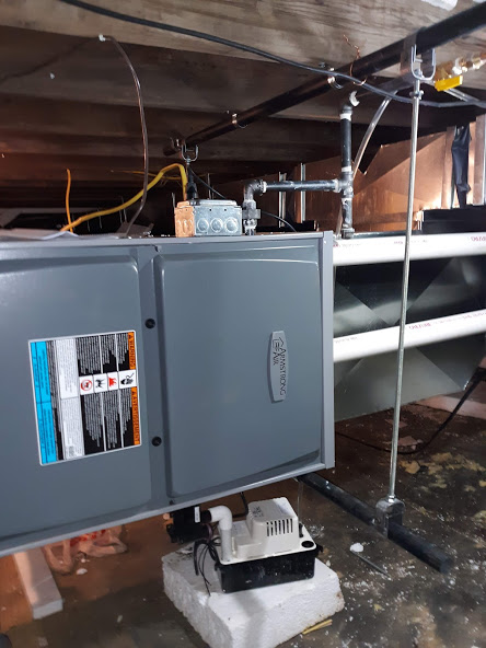 Tionesta, PA  16353 April, 2021 Supplied and installed new Armstrong single-stage up flow/horizontal gas furnace A95UH1E90C16S, 88,000 BTU input and 85,000 BTU output; furnace off floor joist; Supplied and Installed L.P. kit; Repaired flex pipe; Repaired gas line; Repaired electric and wired in switch and plug for service; wired in new light in front of unit; Supplied and Installed condensate pump; Repaired ductwork as needed; Left extra air filter with homeowner; Removed preexisting furnace; Registered single-stage up flow/horizontal Armstrong gas furnace A95UH1E90C16S, 88,000 BTU input and 85,000 BTU output, for ten year on parts and manufacture warranty on heat exchange.