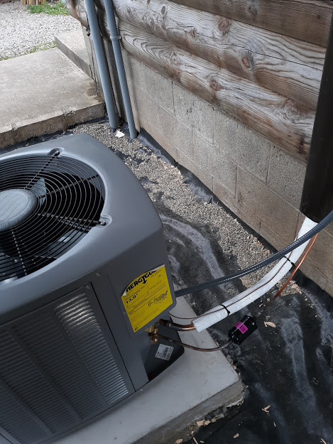 """Tidioute, PA 16321 May, 2021  Supplied and Installed Armstrong Air Conditioner Model 4SCU13LE124P 13 SEER New Case Coil Model EC1P24AG-1. Supplied and Installed: new line set; Installed 32"""" x 32"""" x 3"""" plastic heavy-duty pad; Install 60 amp disconnect; Install 6' Whip; Wired in new air conditioning unit with double pole breaker; Registered Armstrong Air Conditioner for a ten-year manufacture warranty on parts and a ten-year manufacture warranty on compressor."""